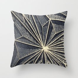 Geometric Pattern on Wood, Gold Lines, Rise Detail Throw Pillow