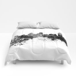 Cincinnati skyline in black watercolor Comforters