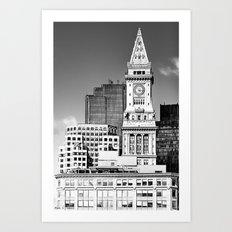 Boston Custom House Tower - Black And White Landmark Architecture Art Print