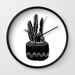 Cactus houseplant linocut cacti desert southwest black and white office home art products Wall Clock