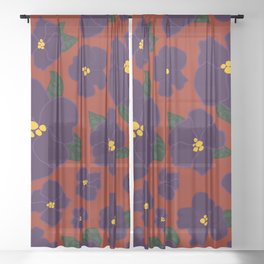 African Violets on red Sheer Curtain
