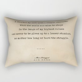 Ayn Rand Quote 01 - Typewriter Quote on Old Paper - Minimalist Literary Print Rectangular Pillow