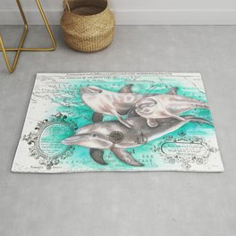 Dolphin Pod Ancient Map Rug