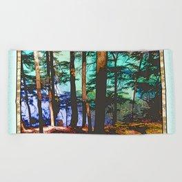 MOUNTAIN LAKE THROUGH HEMLOCK TREES Beach Towel