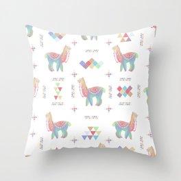 Colorful Alpaca Throw Pillow