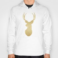 gold glitter Hoodies featuring Gold Glitter Reindeer by A Little Leafy