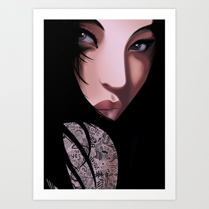 Black Geisha Art Print