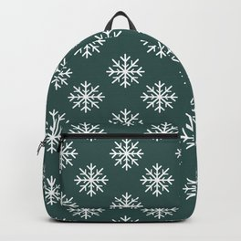 Snowflakes (White & Dark Green Pattern) Backpack