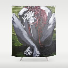 Oil paint on canvas painting of a nude red haired women clutching her hair in the fetal position Shower Curtain
