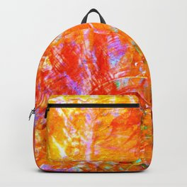 Abstract with Circle in Gold, Red, and Blue Backpack