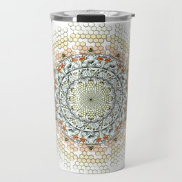 Overlapping Bee Mandala (Color) Travel Mug