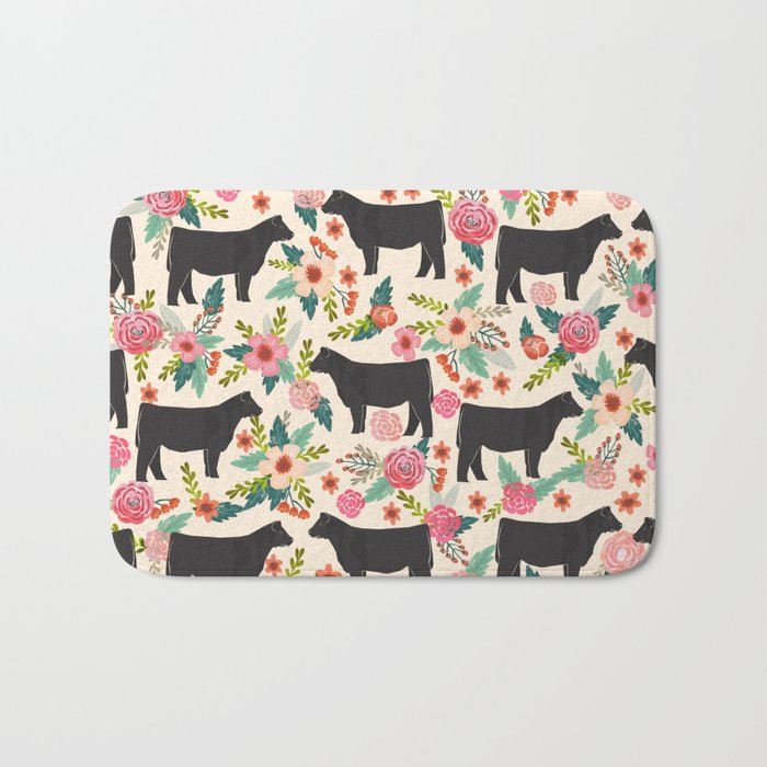 Show Steer cattle breed floral animal cow pattern cows florals farm gifts  Bath Mat by farmfriendly