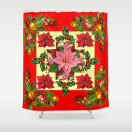 RED & PINK POINSETTIAS CHRISTMAS ORNAMENTS ART Shower Curtain