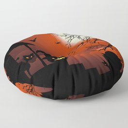 Halloween on Bloody Moonlight Nightmare Floor Pillow