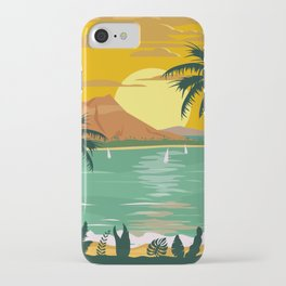 Tropical island paradise sunset beach and palm trees iPhone Case