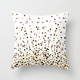 Floating Dots - Black and Gold on White Throw Pillow