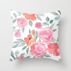 Amelia Floral in Pink and Peach Watercolor Throw Pillow