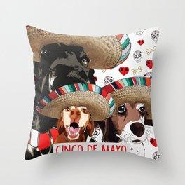 Cinco de Pup Throw Pillow