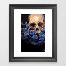 Skull & Blue Flowers Framed Art Print