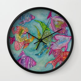 Fish in many languages Wall Clock