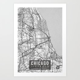 Chicago Map With Coordinates Art Print