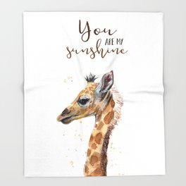 You Are My Sunshine Giraffe Nursery Animals Watercolor Art Throw Blanket