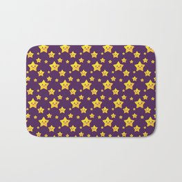 Cute Yellow Stars in Purple BG Bath Mat