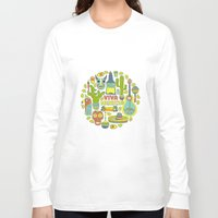 mexico Long Sleeve T-shirts featuring Viva Mexico by Favete Art