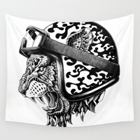 bioworkz Wall Tapestries featuring Tiger Helm by BIOWORKZ