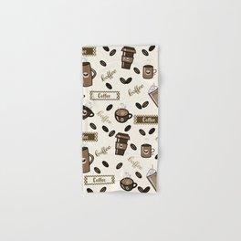 Coffee cups pattern on cream background Hand & Bath Towel