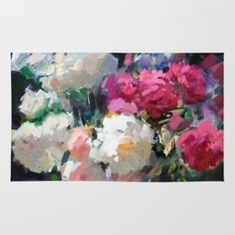 Still Life with White & Pink Roses Rug