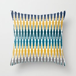 Boho, Geometric Pattern, Blue, Teal, Yellow and Gray Throw Pillow