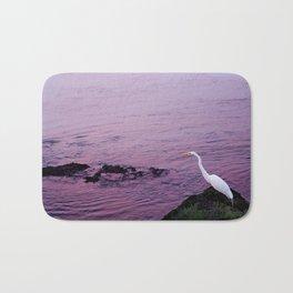 White Egret at Sunset Bath Mat