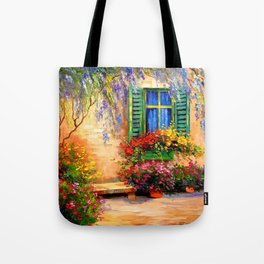 Blooming summer patio Tote Bag
