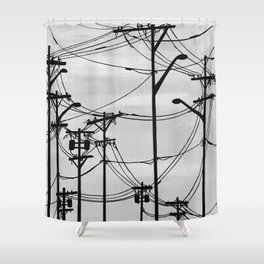 Industrial poles b&w Shower Curtain