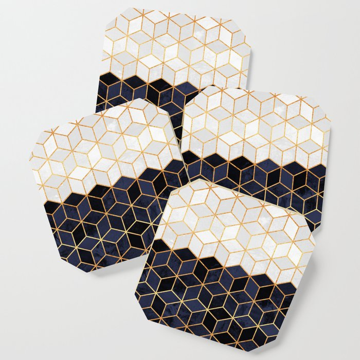 White & Navy Cubes Coaster