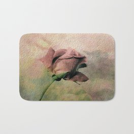 Painterly Pink Rose Bud Bath Mat