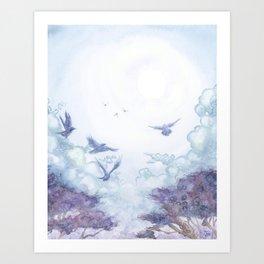 Moonlit Crows Art Print
