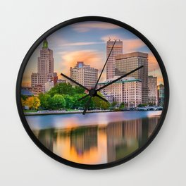 Downtown Providence, Rhode Island Along the Providence River Wall Clock