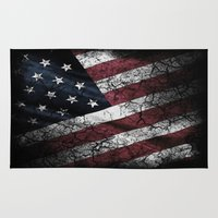 american flag Area & Throw Rugs featuring AMERICAN FLAG by Happi Anarky