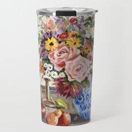 Still Life Candlestick and flower Travel Mug