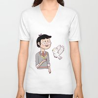 hedwig V-neck T-shirts featuring Magical friends by HypersVE