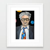 will ferrell Framed Art Prints featuring Will Ferrell as Harry Caray SNL by Portraits on the Periphery