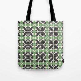 tile floral abstract-grayish green Tote Bag