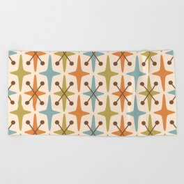 Mid Century Modern Abstract Star Pattern 441 Orange Brown Blue Olive Green Beach Towel