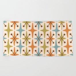 Mid Century Modern Abstract Star Pattern 441 Orange Brown Blue Olive Green Beach Towel