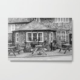 Exterior of the Adam & Eve Pub , Norwich in black and white Metal Print