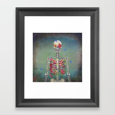 Blooming skeleton on the grunge background  Framed Art Print