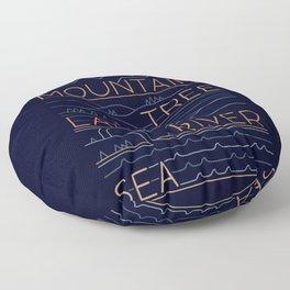 Sun, Mountain, Tree Floor Pillow