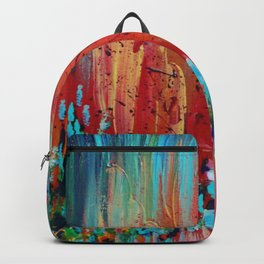 REVISIONED RETRO - Bright Bold Red Abstract Acrylic Colorful Painting 70s Vintage Style Hip 2012 Backpack